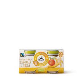Alce Nero Organic banana and apple purè baby food 2x80g