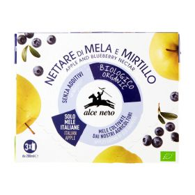 Alce Nero Organic apple and blueberry nectar box 3x 200ml