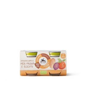 Alce Nero Apple plum and biscuit pur�e baby food 2x80g